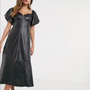 Leather Look Off Shoulder Zip Through MIDI Dress